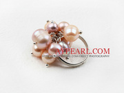 Classic Design Pink and Purple Freshwater Peal Adjustable Ring