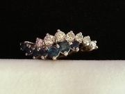Diamond and Sapphire 9ct Gold Ring,  True quality